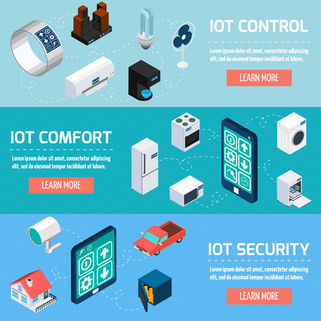 home safety: Iot control comfort and security interactive internet page 3 horizontal isometric banners set  design abstract vector illustration