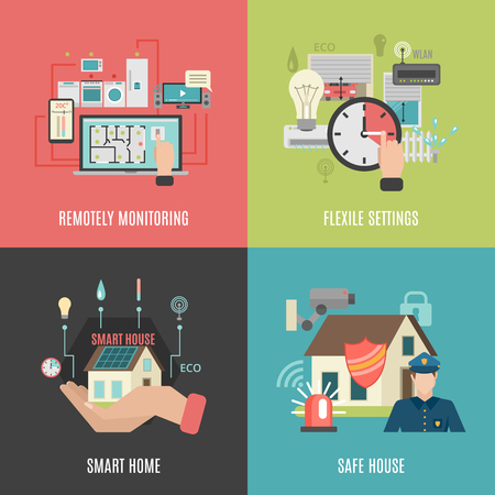 flexible: Smart home household devices remote control flexible settings 4 flat icons square composition banner abstract vector illustration Illustration
