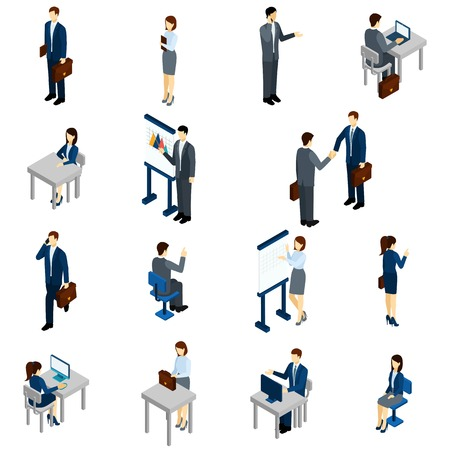 businessman suit: Business people isometric set with males and females in office suits isolated vector illustration