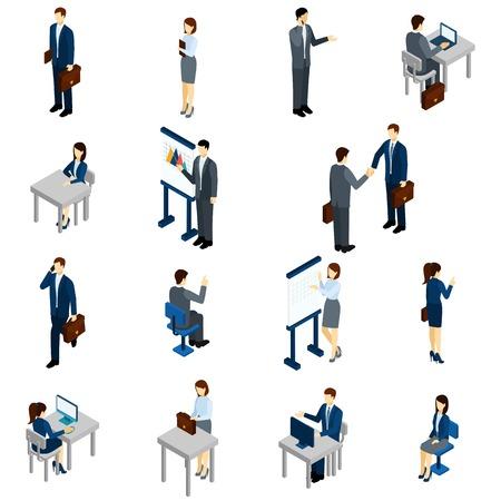 Geschäftsleute, die isometrische Satz mit Männern und Frauen im Büro passt isolierten Vektor-Illustration