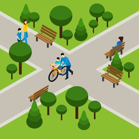 happy people: Father and son on bicycle in park isometric vector illustration