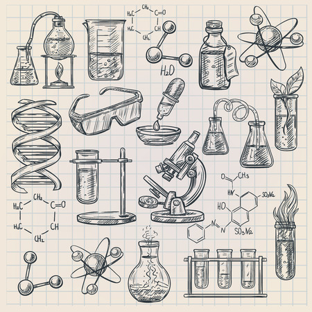 Chemistry icon in doodle style with burner flask dna structure and formulas of organic substances isolated vector illustration Stock Illustratie