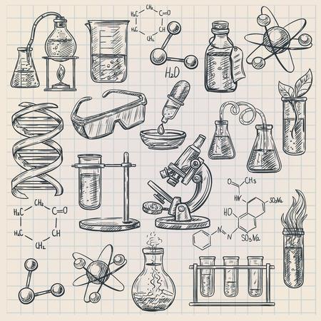 estructura: icono de la química en el estilo de dibujo con la estructura del ADN matraz de quemador y fórmulas de sustancias orgánicas aislado ilustración del vector Vectores