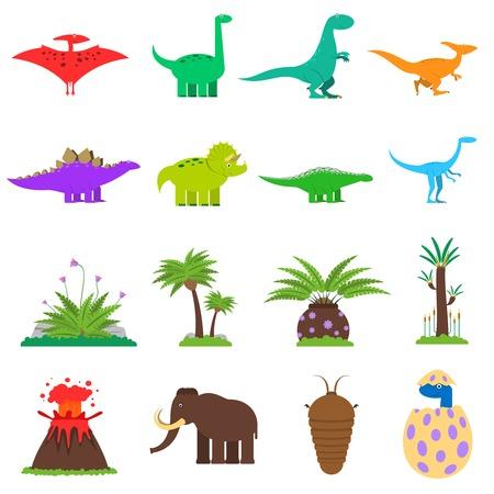 dinosaurio caricatura: Dinosaurios y plantas prehistóricas iconos planos establece la ilustración vectorial aislados Vectores