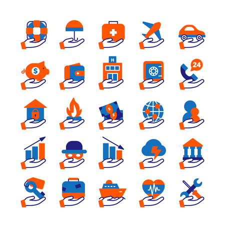 travel icon: Insurance service icons set with house health and travel insurance flat isolated vector illustration