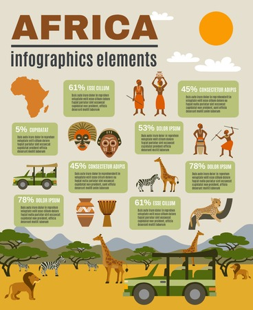 africa continent: Africa infographic set with animals people and tourism flat vector illustration Illustration