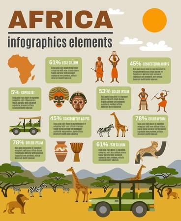 collection: África del conjunto infografía con los animales y las personas ilustración vectorial plana turismo Vectores