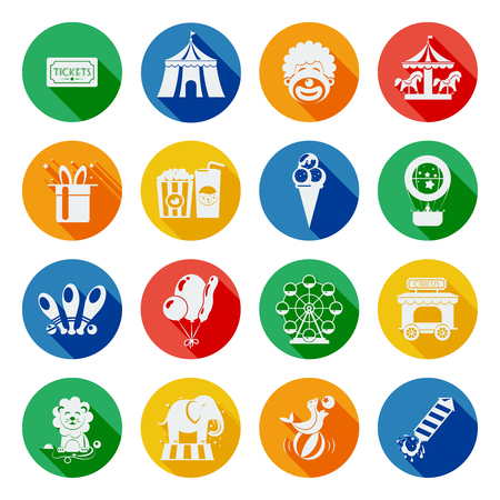 fairground: Circus and fairground icons flat long shadow set isolated vector illustration Illustration