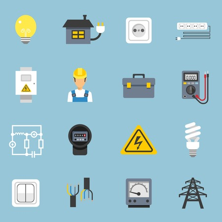 current: Electricity icons set with current and sockets symbols on blue background flat isolated vector illustration
