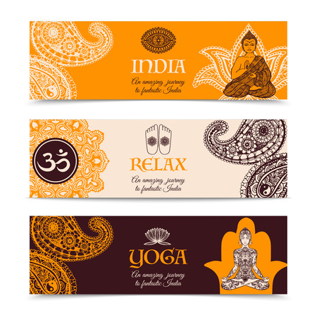 indian culture: Indian culture center 3 horizontal decorative banners set with yoga practice relaxation symbols abstract isolated vector illustration