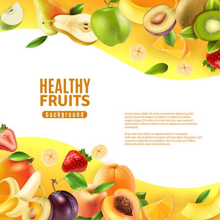 frutas tropicales: Saludable dulce natural dieta frutas orgánicas de colores de la bandera de fondo con plátanos tropicales y kiwis ilustración vectorial abstracto Vectores
