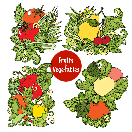 folksy: Four colorful ornamental fruits and vegetables compositions with succulent leaves country style eco abstract isolated vector illustration Illustration