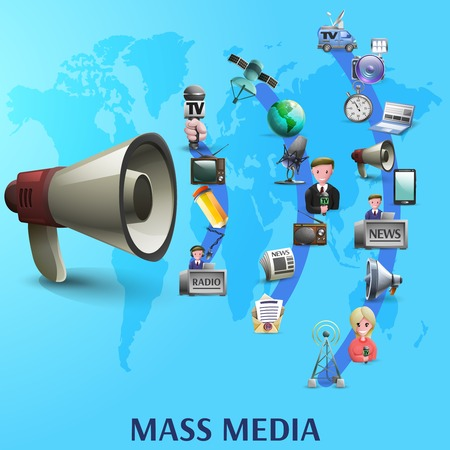 big waves: Mass media poster with news makers and devices icons on waves from big megaphone cartoon vector illustration
