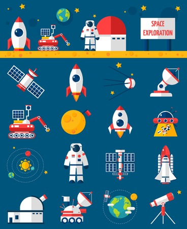 exploration: Universe cosmos flat icons collection with rocket cosmonaut and planet  space exploration vehicle abstract isolated vector illustration