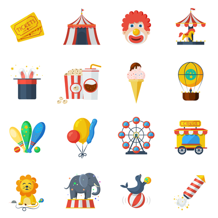 rollercoaster: Circus and attraction park icons flat set isolated vector illustration