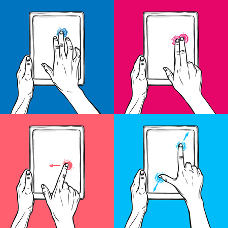 swipe: Hands holding tablet gadget and swipe pinch tap gesture sketch on colored background decorative icon set isolated vector illustration.