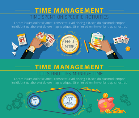 todo: Time management and productivity tips 2 flat horizontal banners poster with to do list isolated vector illustration