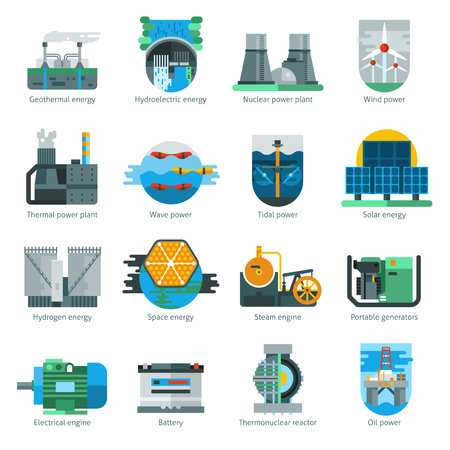 hydrogen: Energy production flat icons set with fuel and electricity manufacturing isolated vector illustration