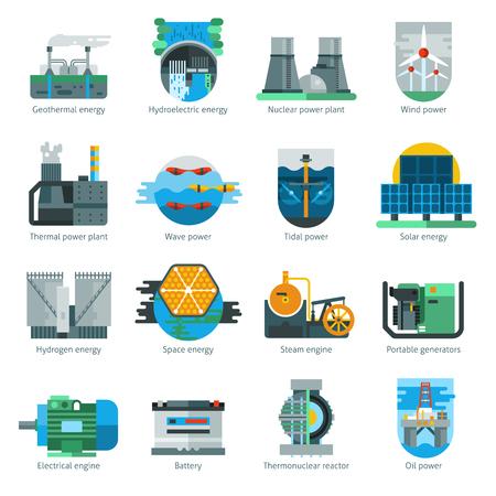 electricidad: iconos planos de producción de energía establecidas con la ilustración vectorial aislados de fabricación de combustible y electricidad Vectores