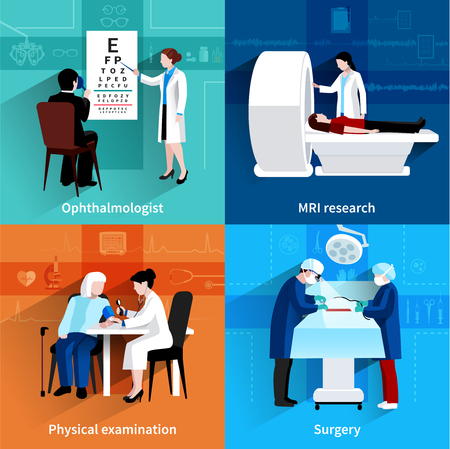 Medical specialists mri scan 4 flat icons square composition with operation room surgery abstract isolated vector illustration Illustration