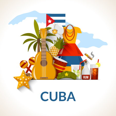 cuba flag: Cuban national symbols composition poster with flag guitar rum cocktail and royal palm flat abstract vector illustration