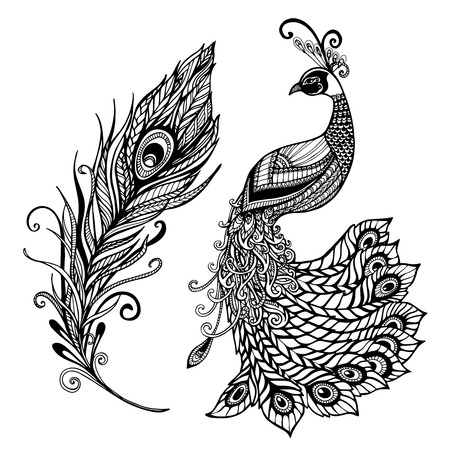 Decorative stylized peacock bird feather art deco design template for wall frames doodle black abstract vector illustration Vettoriali
