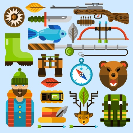 weapon: Hunting and fishing icons set with flat outdoor leisure activities isolated vector illustration