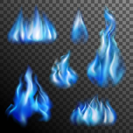 Realistic burning blue fire transparent set isolated vector illustration Illustration