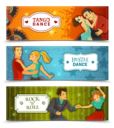 hustle: Tango hustle rock and roll dance 3 horizontal flat retro disco banners set abstract isolated vector illustration