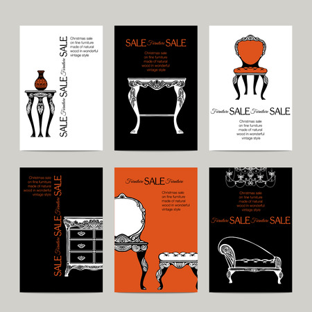 boudoir: Hand drawn furniture banners in  baroque style for sale  vector illustration
