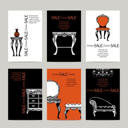disegnati a mano mobili banner in stile barocco per l'illustrazione vettoriale vendita