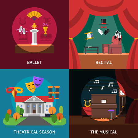 recital: Theatre concept icons set with ballet recital and musical symbols flat isolated vector illustration