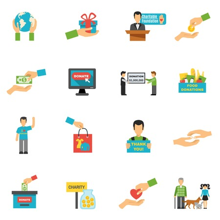 Charity pictogrammen die met vrijwilligerswerk symbolen platte geïsoleerde vector illustratie