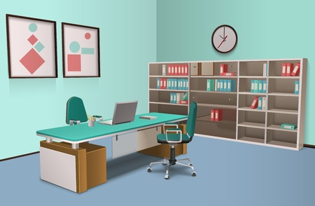 training room: Realistic room in the office for big boss with  computer and rack and abstract decorations on the wall vector illustration