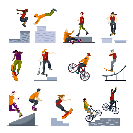 adventurous: Extreme adventurous city sports flat icons collection with buildings jumping biking and skateboarding abstract isolated vector illustration.