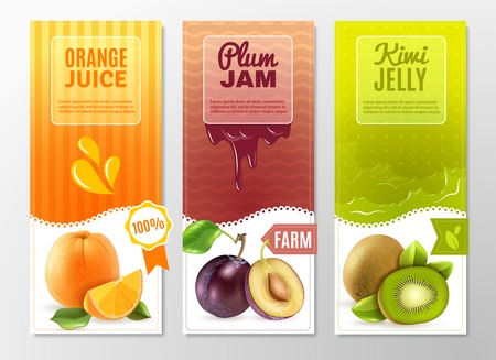 kiwi fruit: Orange juice plum jam and kiwi jelly 3 vertical colorful advertisement banners set abstract isolated vector illustration