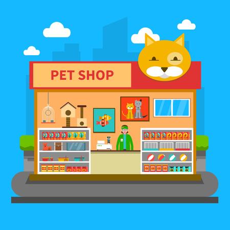 Pet Shop Concept avec des accessoires d'animaux entreposer à l'intérieur plat illustration vectorielle Banque d'images - 49541208