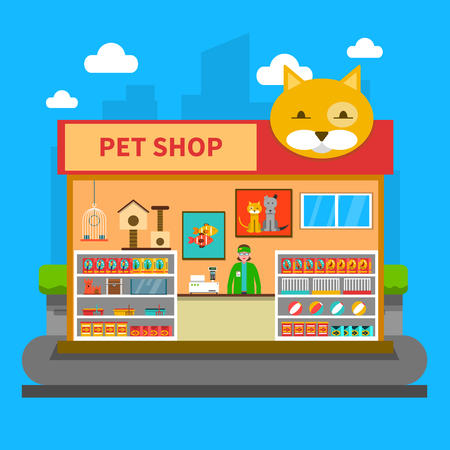 shop window display: Pet shop concept with animal accessories store indoors flat vector illustration