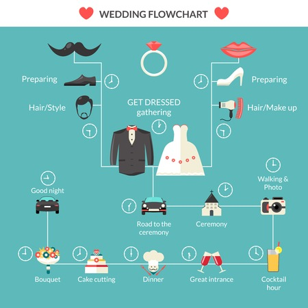 wedding cake: Wedding ceremony planning in style flat flowchart design with marriage fashion clothing and symbols abstract vector illustration