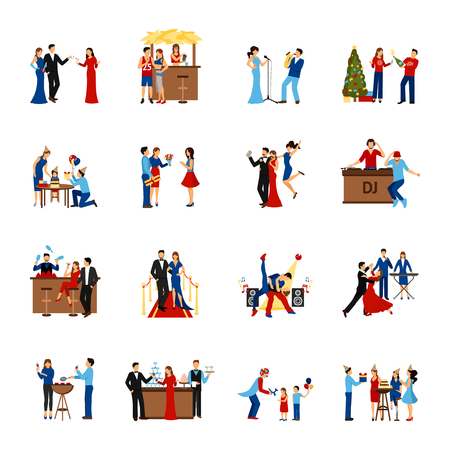 partying: Flat style icons set of partying people like celebration meeting dancing party and other isolated vector illustration