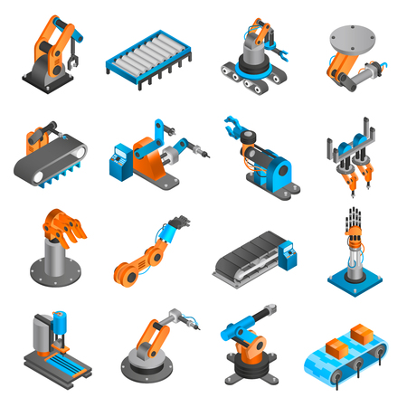 assembly: robot industrial como maquinaria y fábrica de iconos isométrica en 3D establece la ilustración vectorial aislados