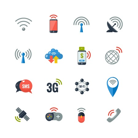 wireless communication: Wireless communication information transfer technology flat icons collection with antenna and smart  cell phone abstract isolated vector illustration