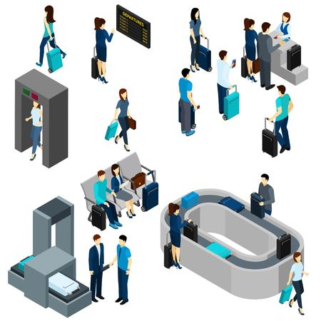 People in airport lounge and on security check isometric vector illustration