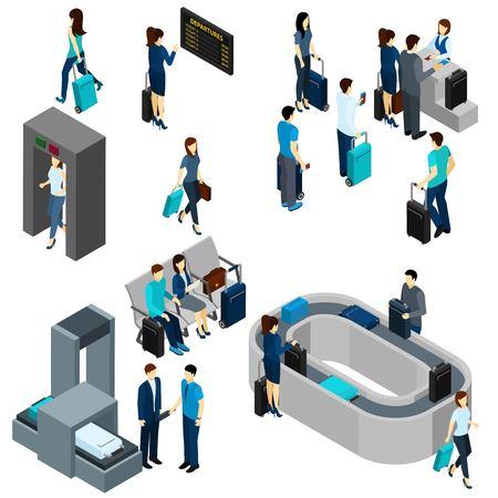 air hostess: Les gens dans le salon de l'aéroport et sur la sécurité vérifier isométrique illustration vectorielle