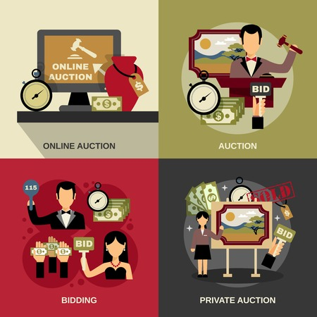 Auction concept icons set with art and bidding symbols flat isolated vector illustration Stock Illustratie