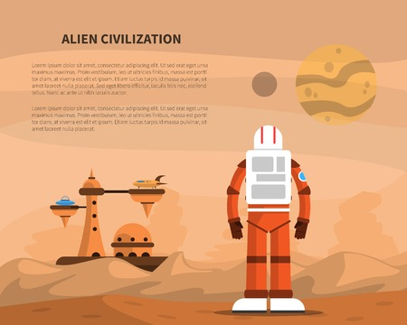 civilization: Space concept with astronaut on star surface and alien civilization buildings vector illustration