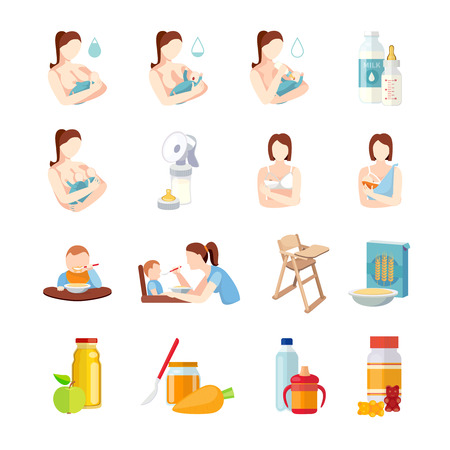 breast: Babies breastfeeding positions and toddlers milk formula feeding with spoon flat icons set abstract isolated vector illustration