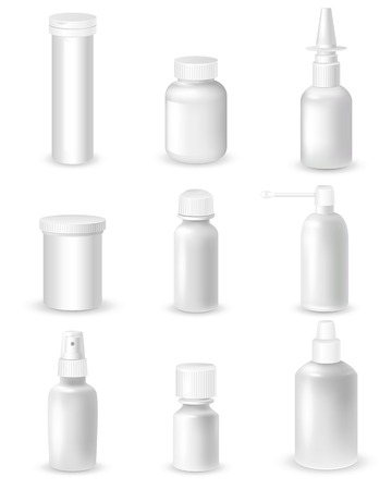 mixture: Medicine blank white bottles set for sprays and pills realistic isolated vector illustration