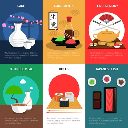 sake: Sushi mini poster set with japanese meal fish and condiments isolated vector illustration