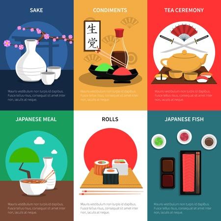 japanese sake: Sushi Póster de tamaño ajustado con harina de pescado japonés y condimentos ilustración vectorial aislado Vectores